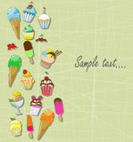 Ice cream and cupcakes Royalty Free Stock Photo