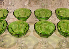 Ice cream cups. Ice cream green glass cups made in Italy . Dessert Glasses are everyone favorite dish Stock Images