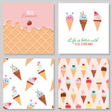 Ice cream cute cards and seamless pattern set. Kawaii cartoon characters. Wafer surface with melted strawberry cream