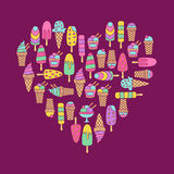 Ice cream doodle icons set Royalty Free Stock Photo