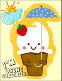 Ice cream. Cute ice cream holding an umbrella Stock Images
