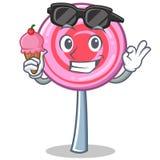 With ice cream cute lollipop character cartoon. Vector illustration Stock Photos