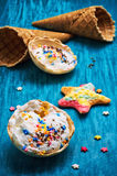 Ice cream decorated with sweet powder in the wafer Stock Photo