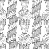 Ice cream, dessert. Black and white illustration for coloring book. Seamless decorative pattern. Vector Royalty Free Stock Photos