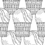 Ice cream, dessert. Black and white illustration for coloring book. Seamless decorative pattern. Vector Royalty Free Stock Photo