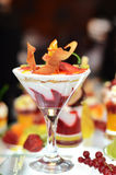 Ice cream dessert on buffet table. A sweet ice cream dessert with berries and fruit on buffet table Stock Images