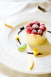 Ice cream dessert. Delicate ice cream cake with raspberries Royalty Free Stock Images