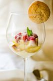 Ice cream dessert in a glass with amaretti biscuit Stock Photos
