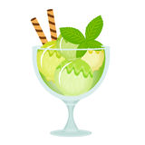 Ice cream dessert in a glass cup. Milk shake with mint flavor. Vector illustration Royalty Free Stock Photography