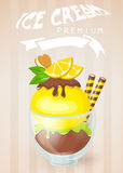 Ice cream dessert in glass cup.Vector illustration. Stock Photography