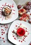 Ice cream dessert and italian panna cotta dessert with strawberr Royalty Free Stock Images