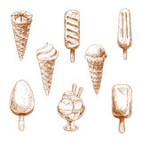 Ice cream desserts engraving sketches Royalty Free Stock Photo