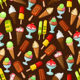 Ice cream desserts with fruits seamless pattern. Ice cream desserts seamless pattern on brown background with fruit and vanilla ice cream cone, chocolate ice Royalty Free Stock Photos
