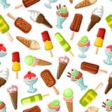 Ice cream desserts seamless vector pattern Royalty Free Stock Photos