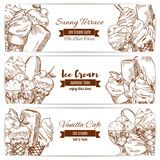 Ice cream desserts sketch vector banners for cafe. Ice cream sketch of sweet fruity ice cream desserts soft ice cream in wafer cone, glazed eskimo with whipped Royalty Free Stock Images