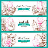 Ice cream desserts sketch vector banners set. Ice cream sketch banners. Vector frozen fresh and sweet fruity desserts assortment set of soft ice cream in wafer Stock Photography