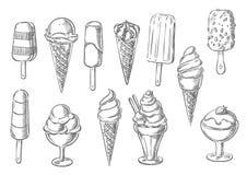 Ice cream desserts sketch vector icons. Ice cream sketch icons of sweet frozen creamy desserts, fruity gelato ice cream, soft ice cream in wafer cone, caramel Stock Photo