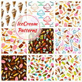 Ice cream desserts vector seamless patterns set. Ice cream patterns of ice cream assortment, scoops in glass bowl and wafer cones, sweet chocolate eskimo and Stock Photos