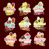 Ice cream desserts vector stickers. Ice cream stickers for dessert shop. Vector frozen ice cream sorts and tastes of lemon cookie, chocolate scoops in wafer Stock Images