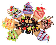 Ice cream different Stock Images