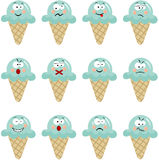 Ice cream with different expressions Stock Photos