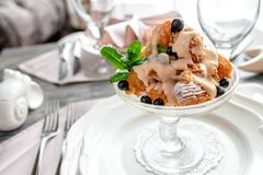 Ice cream in the dish royalty free stock photography