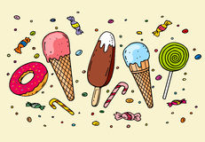 Ice cream, donut and various candies. On light background Royalty Free Stock Images
