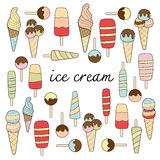 Ice cream doodle pastel colors variation Stock Photo