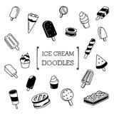 Ice cream doodles set Royalty Free Stock Photos