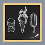 Ice Cream Drawing on a Blackboard Royalty Free Stock Photo