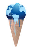 Ice cream earth melts - global warming concept. Illustration design over white Stock Images