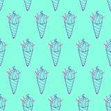 Ice Cream Easy Pattern Linear-35 vector illustration