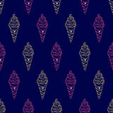 Ice Cream Easy Pattern Linear-16 Royalty Free Stock Photography
