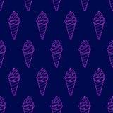 Ice Cream Easy Pattern Linear-36 royalty free illustration