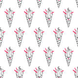 Ice Cream Easy Pattern Linear-17 Royalty Free Stock Images