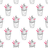 Ice Cream Easy Pattern Linear-06. Seamless doodle ice cream cup pattern, hand-drawn monochrome background, ice-cream vector, ice cream background, EPS 8 stock illustration