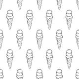 Ice Cream Easy Pattern Linear-10 stock illustration
