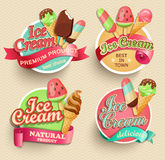 Ice cream emblems. Ice cream emblems, labels and badges collections, vector illustration Stock Image