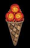 Ice cream embroidery stitches imitation Royalty Free Stock Images