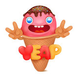 Ice cream emoticon cartoon character Stock Image
