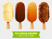 Ice Cream Eskimo Pie Collection. Ice cream collection of eskimo pie with white dark and milk varieties of chocolate glaze at transparent background realistic Royalty Free Stock Image