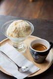 Ice cream with espresso coffee Stock Photos