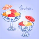 Ice cream faience sundaes vector. Ice cream faience sundaes blue background vector illustration Stock Images