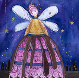 Ice-cream fairy and the night city. Royalty Free Stock Image