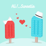 Ice cream falling in love on valentine's day. Ice cream falling in love on valentine's day - vector illustration Stock Photos