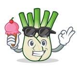 With ice cream fennel character cartoon style. Vector illustration Stock Photos