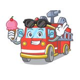With ice cream fire truck character cartoon. Vector illustration Stock Images