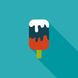 Ice cream flat icon with long shadow. Cartoon vector illustration vector illustration