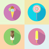 Ice cream flat icon with long shadow Stock Photos