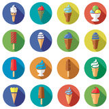 Ice cream flat icons, vector  Stock Images